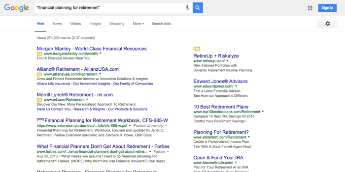 SEO keywords financial planning for retirement google