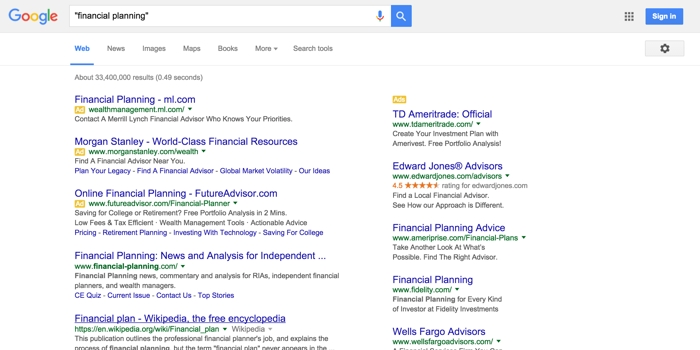 SEO keywords financial planning google