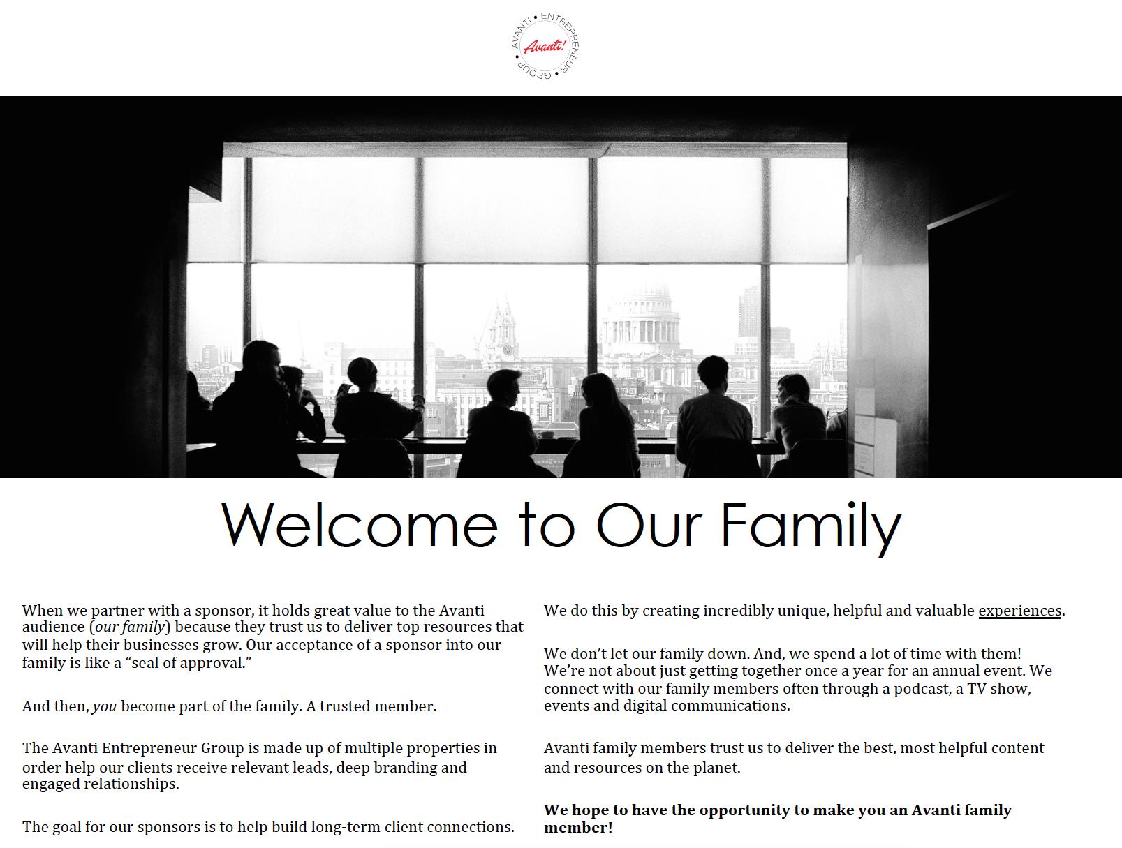 Avanti Entrepreneur Family