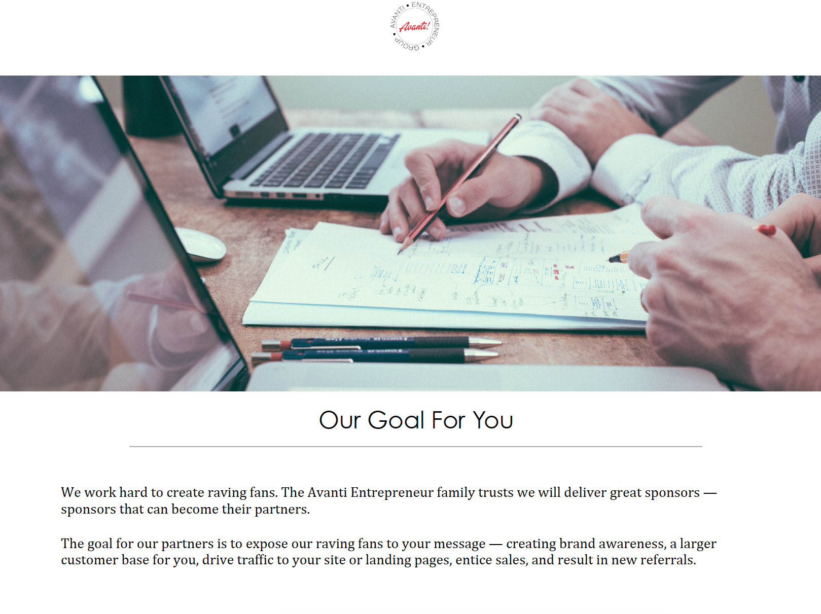 Avanti Entrepreneur Group: Our Goal for You