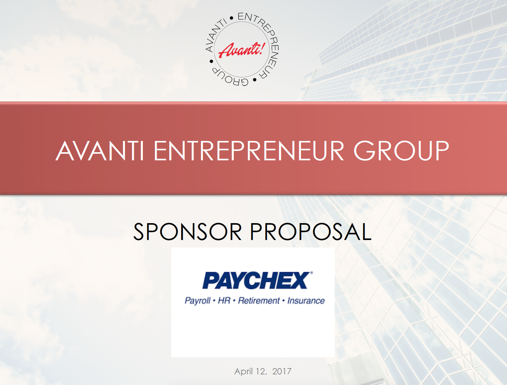Avanti Entrepreneur Group: Sponsor Proposal