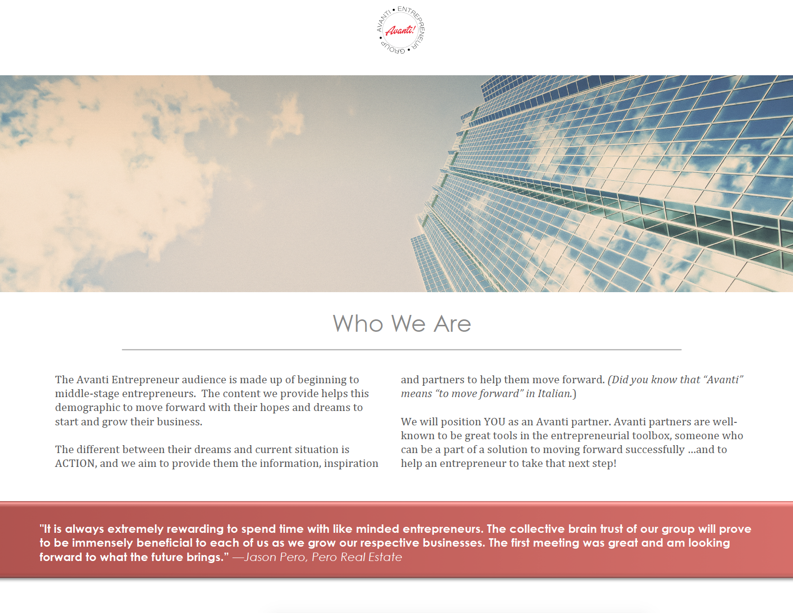 Avanti Entrepreneur Group: Who We Are